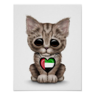 El gato lindo del gatito con los UAE señala el cor Impresiones