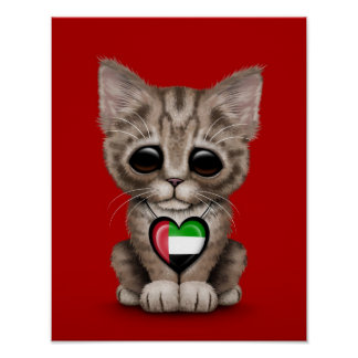 El gato lindo del gatito con los UAE señala el cor Posters