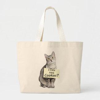 ¿El gato lindo me pregunta puede tiene galletas? Bolsa Tela Grande