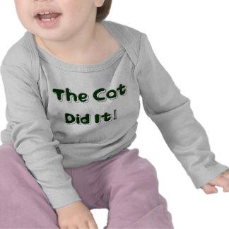 ¡El gato lo hizo! Ropa del bebé Camisetas