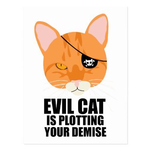 El gato malvado está trazando su fallecimiento postales