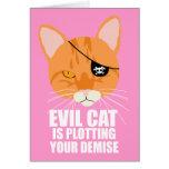 El gato malvado está trazando su fallecimiento felicitaciones