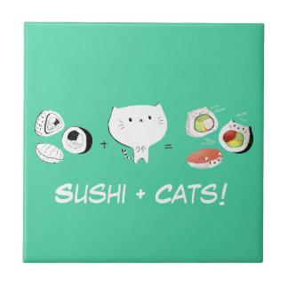 ¡El gato más el sushi iguala Cuteness! Azulejo Ceramica