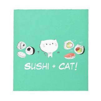 ¡El gato más el sushi iguala Cuteness! Blocs De Papel