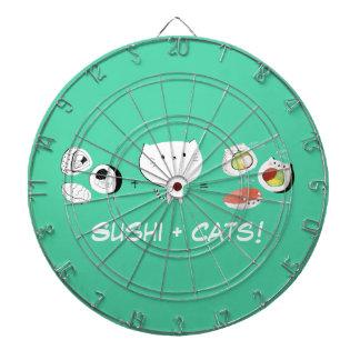 ¡El gato más el sushi iguala Cuteness! Tablero Dardos
