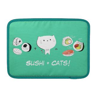 ¡El gato más el sushi iguala Cuteness! Fundas Para Macbook Air