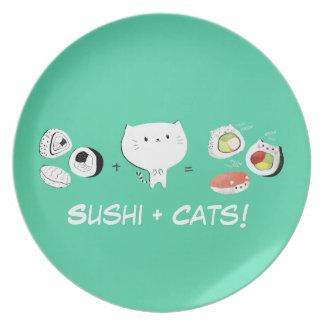 ¡El gato más el sushi iguala Cuteness! Plato De Cena