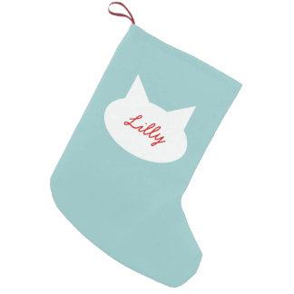 El gato moderno personalizó la media del mascota calcetín de navidad pequeño