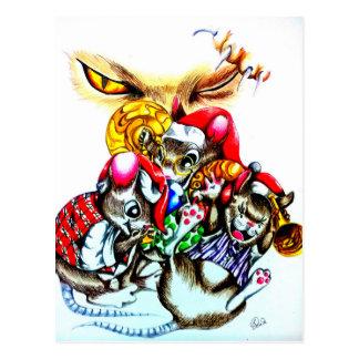 El gato navidad de esa estola postales