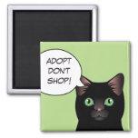 El gato negro Adopt no hace compras imán del