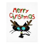 El gato negro ama navidad membretes personalizados