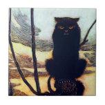 El gato negro azulejo ceramica