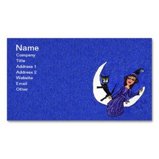 El gato negro de la luna creciente de la bruja tarjetas de visita magnéticas (paquete de 25)