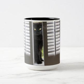 El gato negro en la ventana Shutters, la taza del
