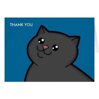 El gato negro gordo feliz le agradece las tarjetas