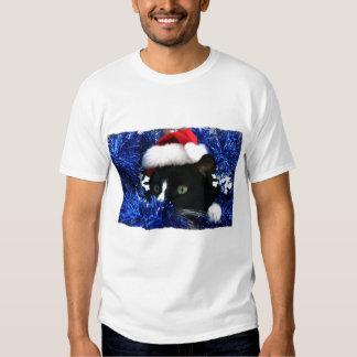 El gato negro, gorra de Santa, malla azul, alista Playeras