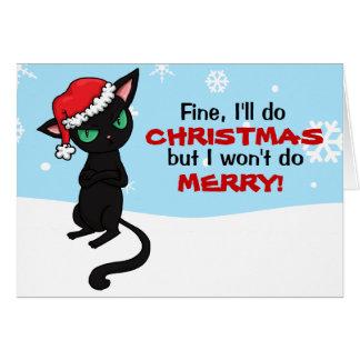 El gato negro gruñón no será Felices Navidad Tarjeta De Felicitación
