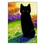 El gato negro lindo florece Creationarts divertido Tarjetón
