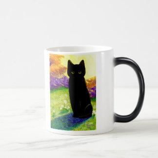 El gato negro lindo florece Creationarts divertido Tazas De Café