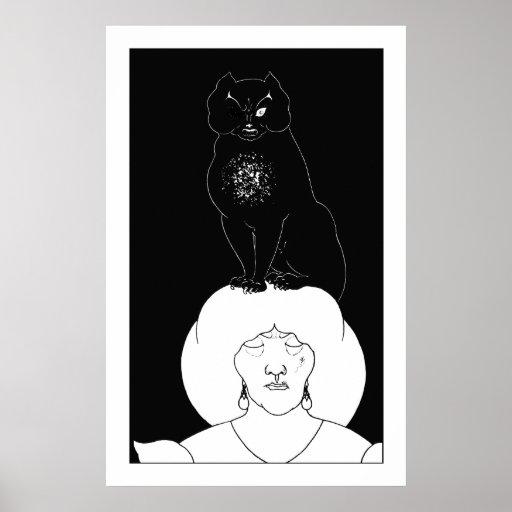 El gato negro por la impresión del poster de Aubre