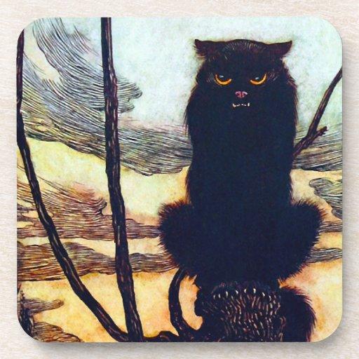 El gato negro posavasos de bebida