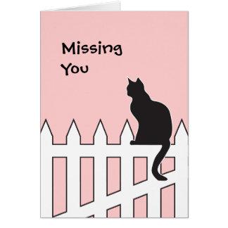 El gato negro que le falta viene por favor a casa tarjeta de felicitación
