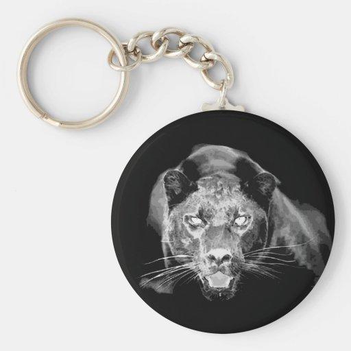 El gato negro salvaje de Jaguar ruge llavero