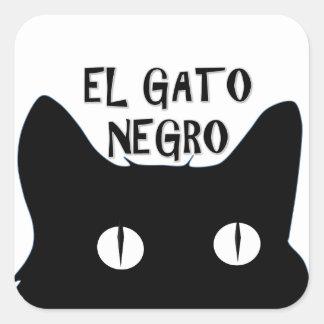 El Gato Negro  - The Black Cat Square Sticker