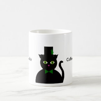El gato negro wGreen el arco/la pluma Taza De Café