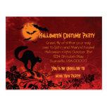 El gato negro y el fiesta abstractos de Halloween Postales