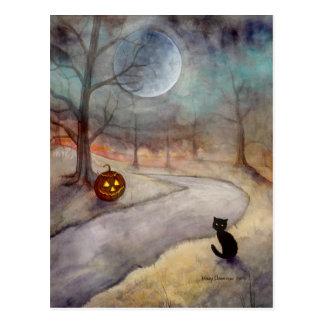 El gato negro y la calabaza olvidados de Halloween Tarjetas Postales