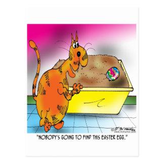 El gato oculta el huevo de Pascua Tarjeta Postal