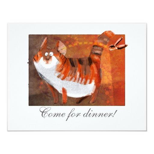el gato oye un abrelatas invitación 10,8 x 13,9 cm