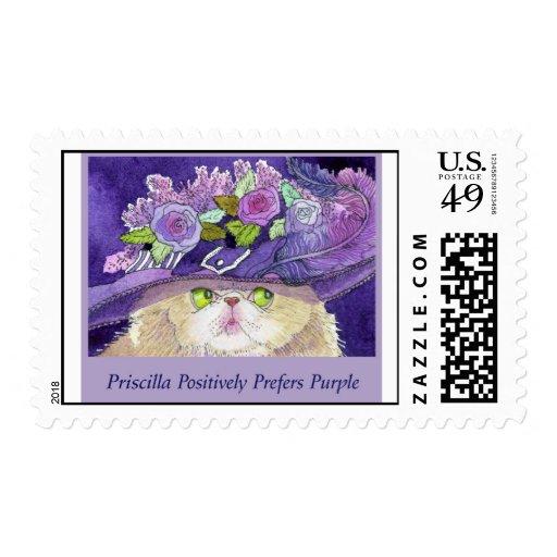 El gato persa bonito Priscilla prefiere púrpura Sellos