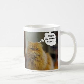 El gato persa necesita la taza de café