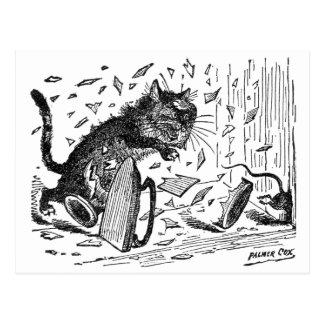 El gato pierde la cena cuando el ratón se escapa postales