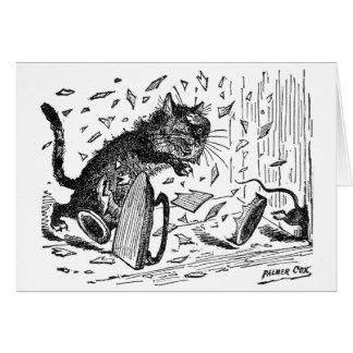 El gato pierde la cena cuando el ratón se escapa tarjeta de felicitación