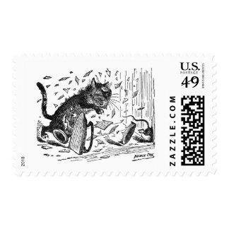 El gato pierde la cena cuando el ratón se escapa timbres postales