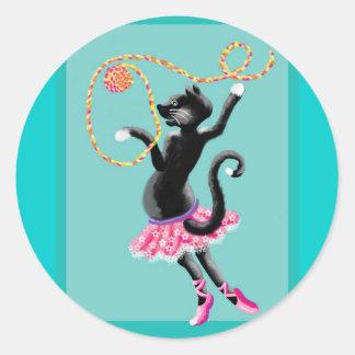 el gato puede bailar pegatina redonda