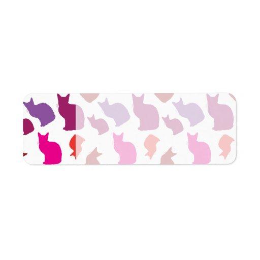 El gato púrpura rosado del gatito siluetea los reg etiqueta de remite