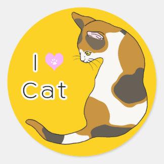 El gato que da vuelta alrededor (el gato de la pegatinas redondas