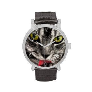 El gato se lame reloj de mano
