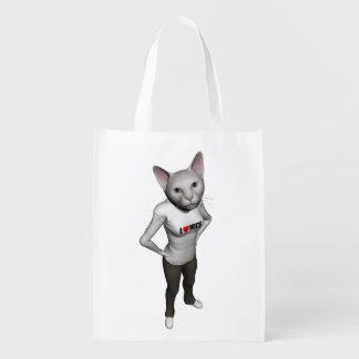 El gato siamés blanco divertido ama ratones bolsas reutilizables
