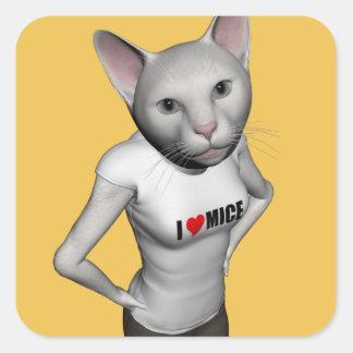 El gato siamés blanco divertido ama ratones pegatina cuadrada