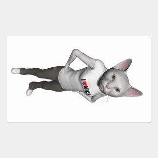 El gato siamés blanco divertido ama ratones pegatina rectangular