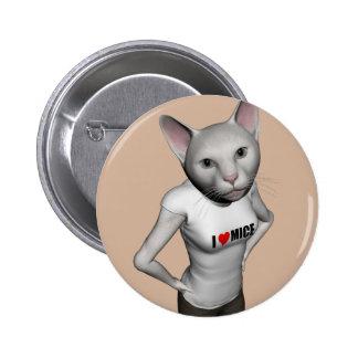 El gato siamés blanco divertido ama ratones chapa redonda 5 cm