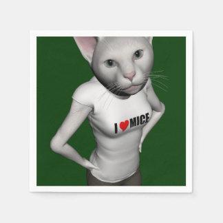 El gato siamés blanco divertido ama ratones servilleta de papel