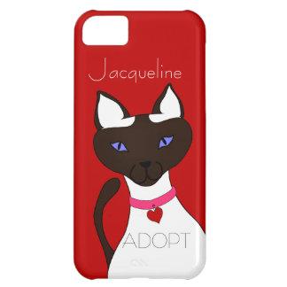 El gato siamés rojo de Moira del Ronroneo-fect Funda Para iPhone 5C