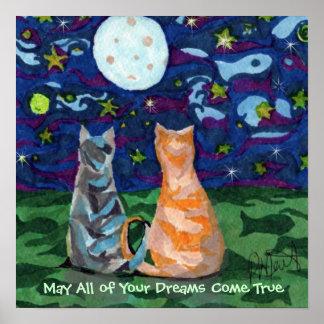 El gato soña el poster del arte