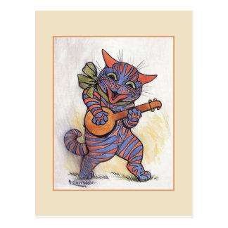 El gato toca el banjo tarjetas postales